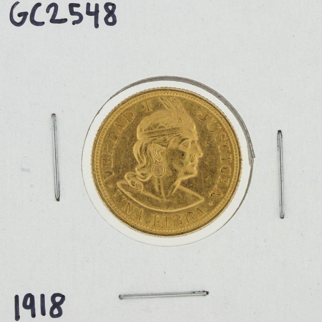1918 Una Libra Gold Coin