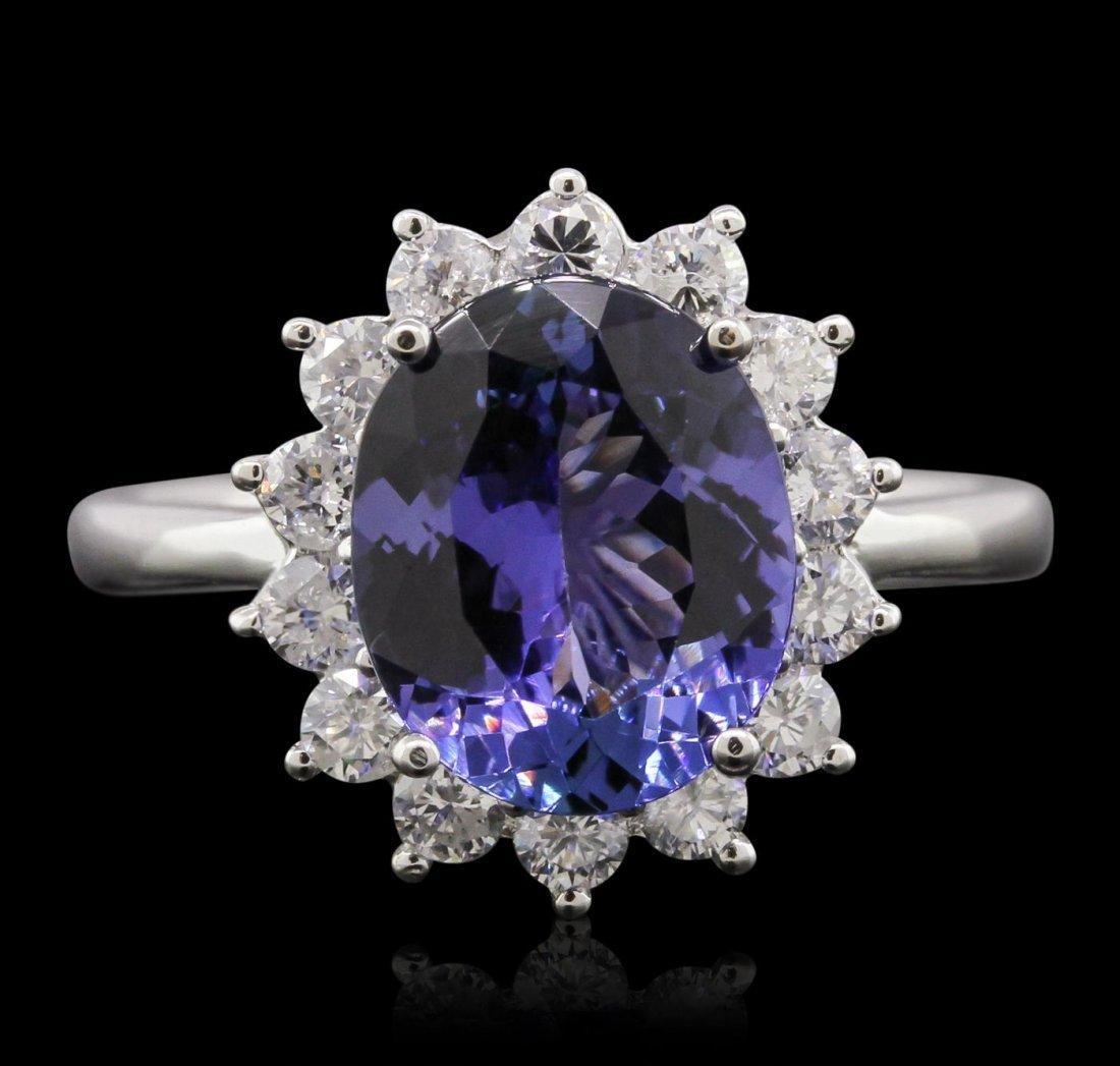 14KT White Gold 3.73ct Tanzanite and Diamond Ring