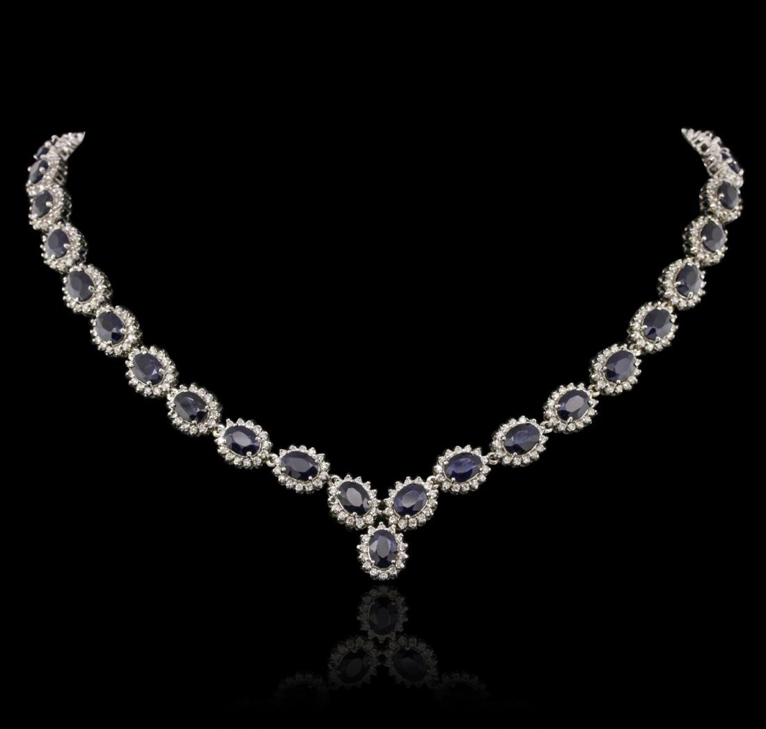 14KT White Gold 30.71ctw Sapphire and Diamond Necklace