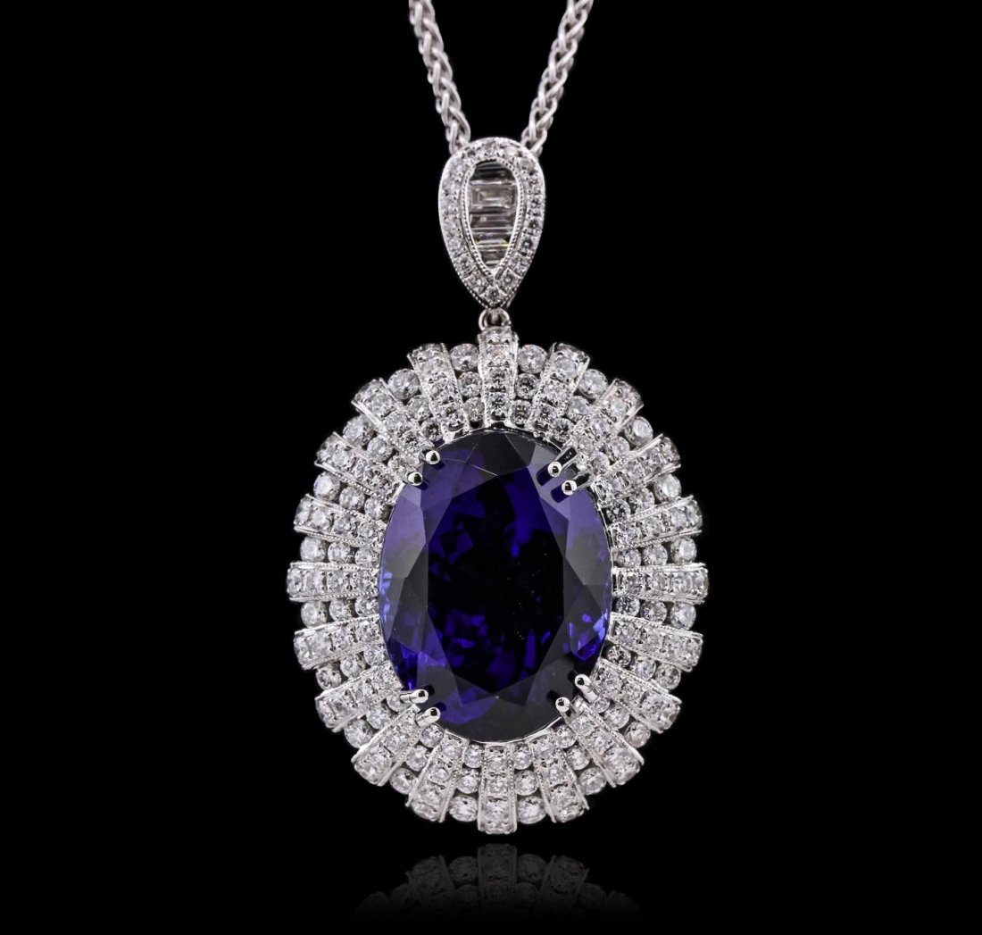18KT White Gold GIA Certified 22.25ct Tanzanite and