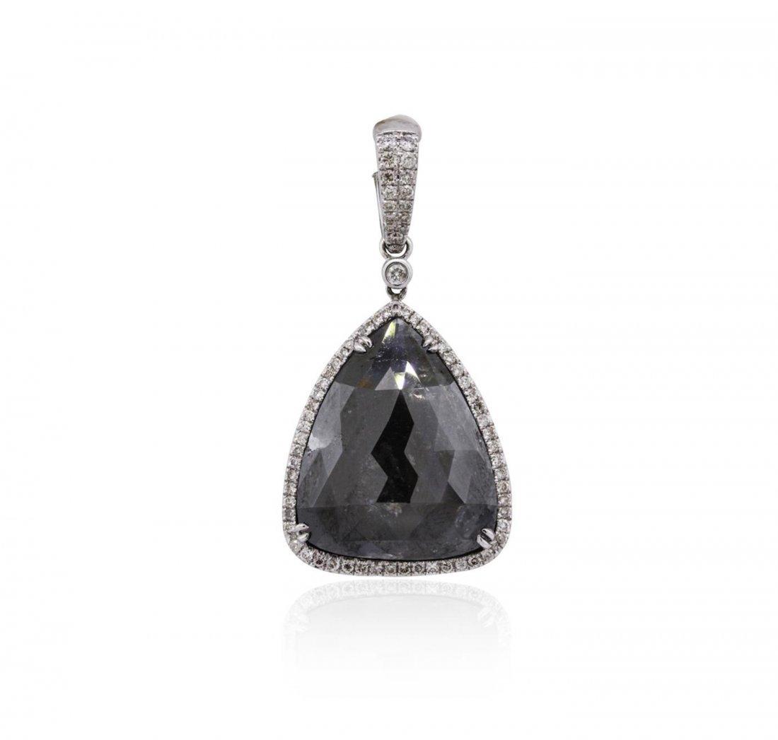 14KT White Gold 16.68ctw Black Diamond Pendant