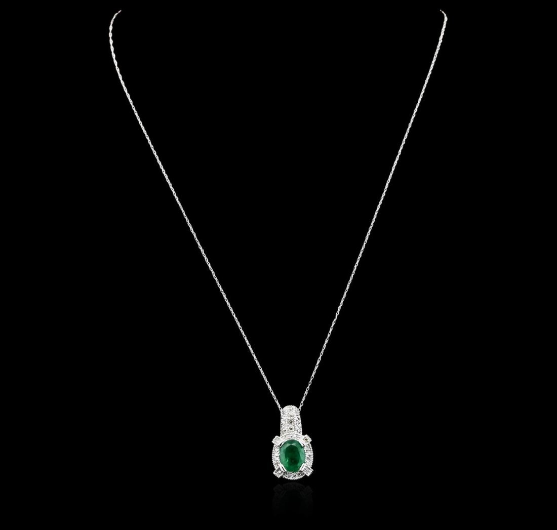 14KT White Gold 1.88ct Emerald and Diamond Pendant With