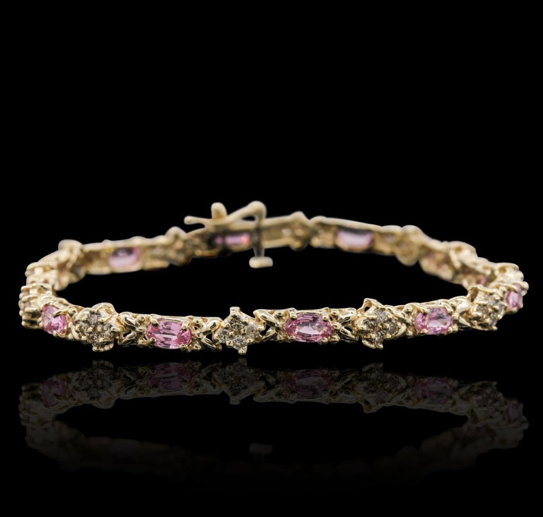 14KT Yellow Gold 6.24ctw Pink Sapphire and Diamond