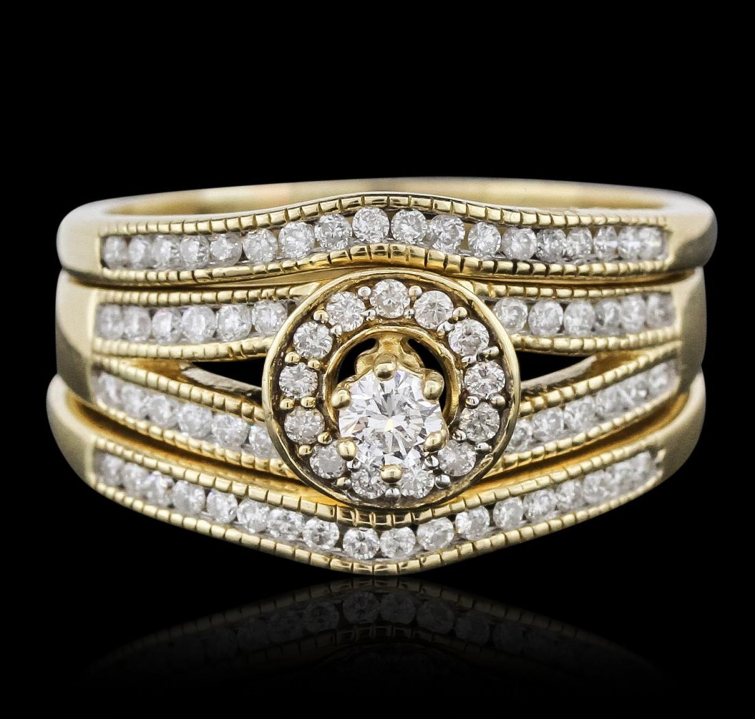 14KT Yellow Gold 0.62ctw Diamond Ring and Guard