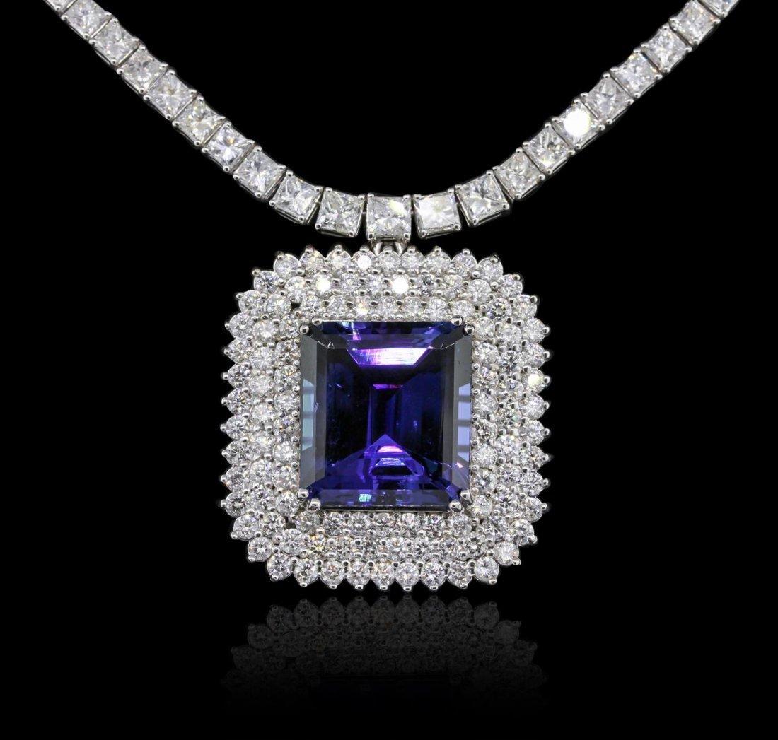 18KT White Gold 43.74ct Tanzanite and Diamond Necklace