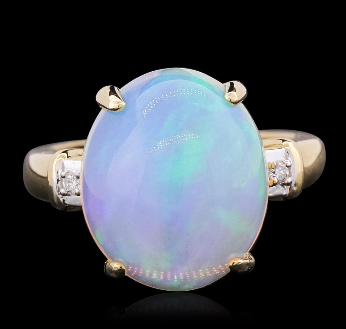 14KT Yellow Gold 5.80ct Opal and Diamond Ring