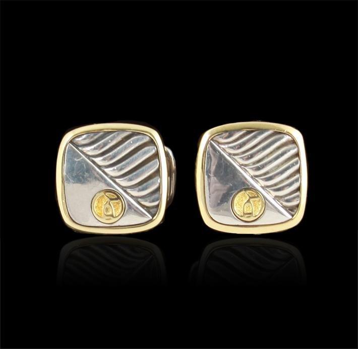 18K Gold and Sterling David Yurman Cufflinks