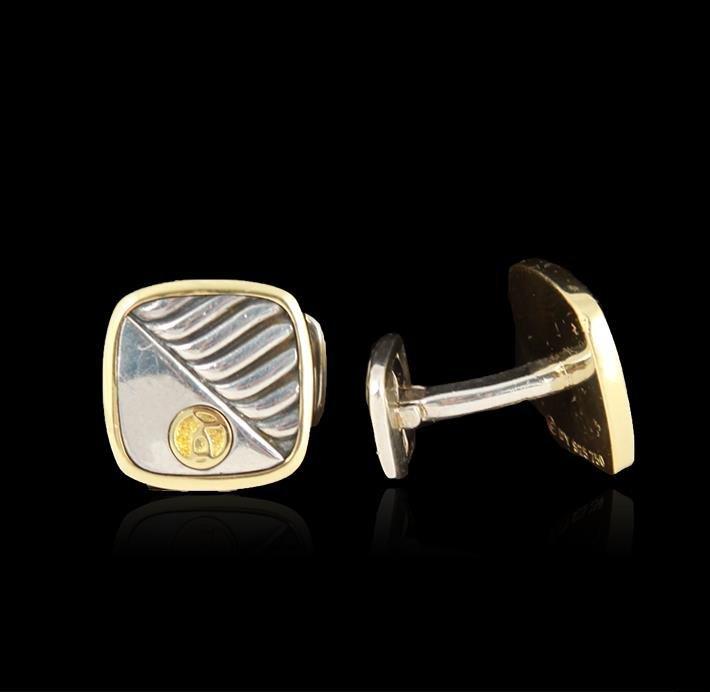 18K Gold and Sterling David Yurman Cufflinks - 2