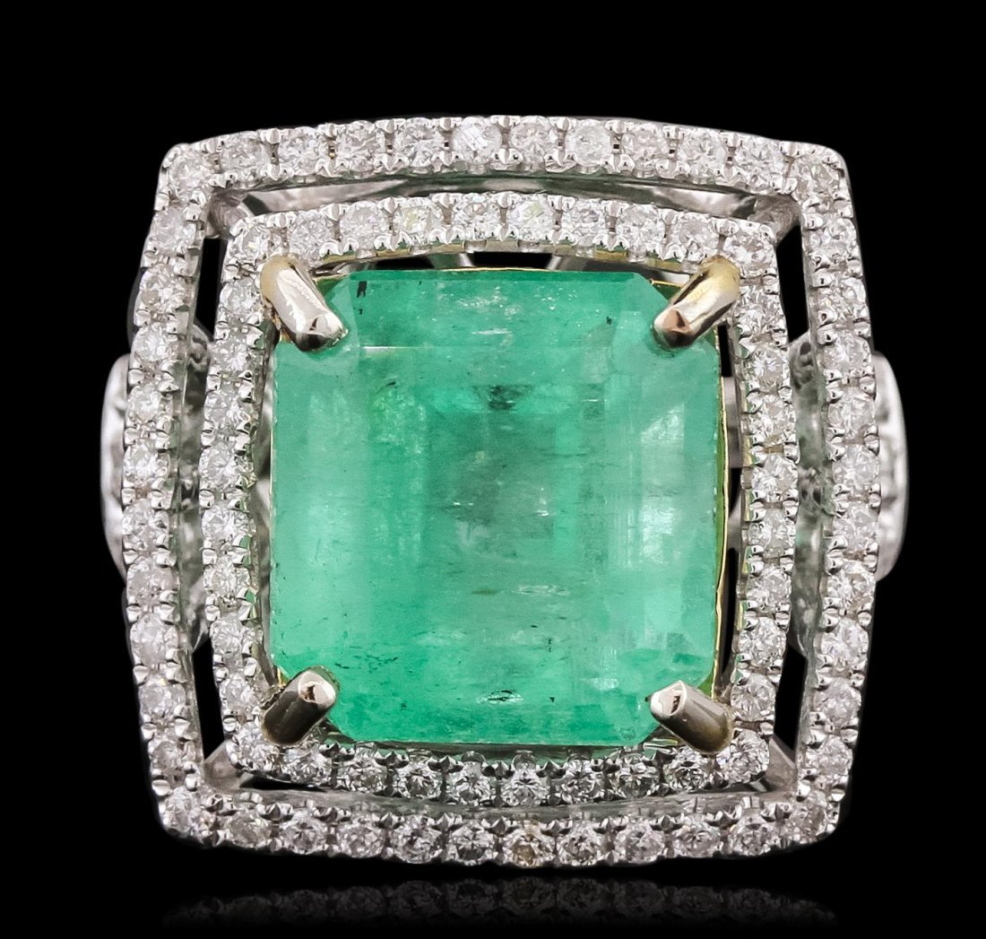 14KT White Gold 11.12ct Emerald and Diamond Ring