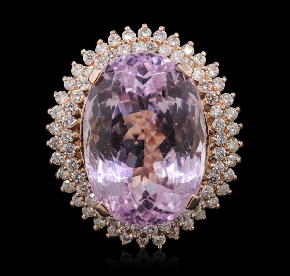 14KT Rose Gold 39.46ct GIA Certified Kunzite and