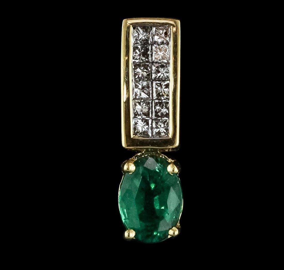 18KT Yellow Gold 0.82ct Emerald and Diamond Pendant