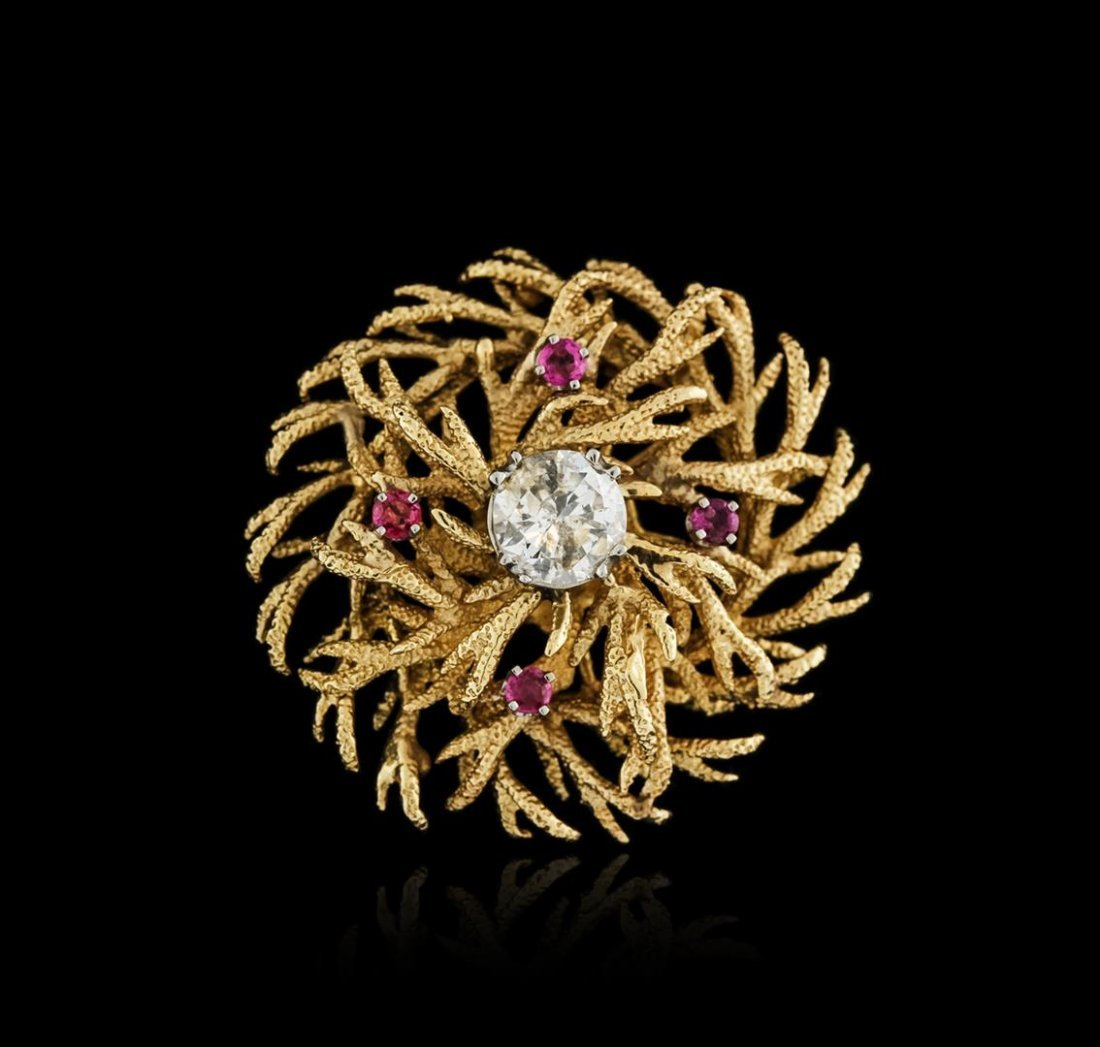 14KT Yellow Gold 1.74ct Diamond and Ruby Brooch