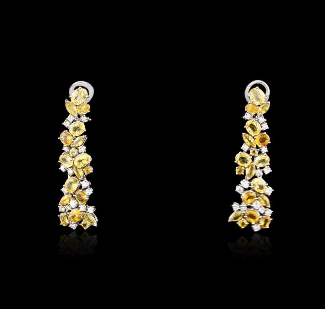 18KT White Gold 25.20ctw Yellow Sapphire and Diamond