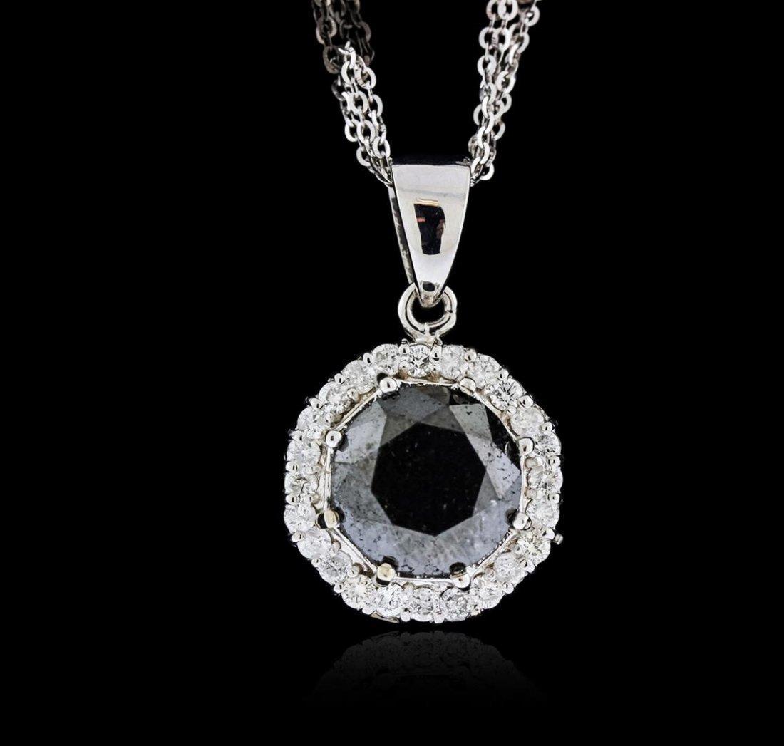 14KT White Gold 8.69ctw Black Diamond Pendant With
