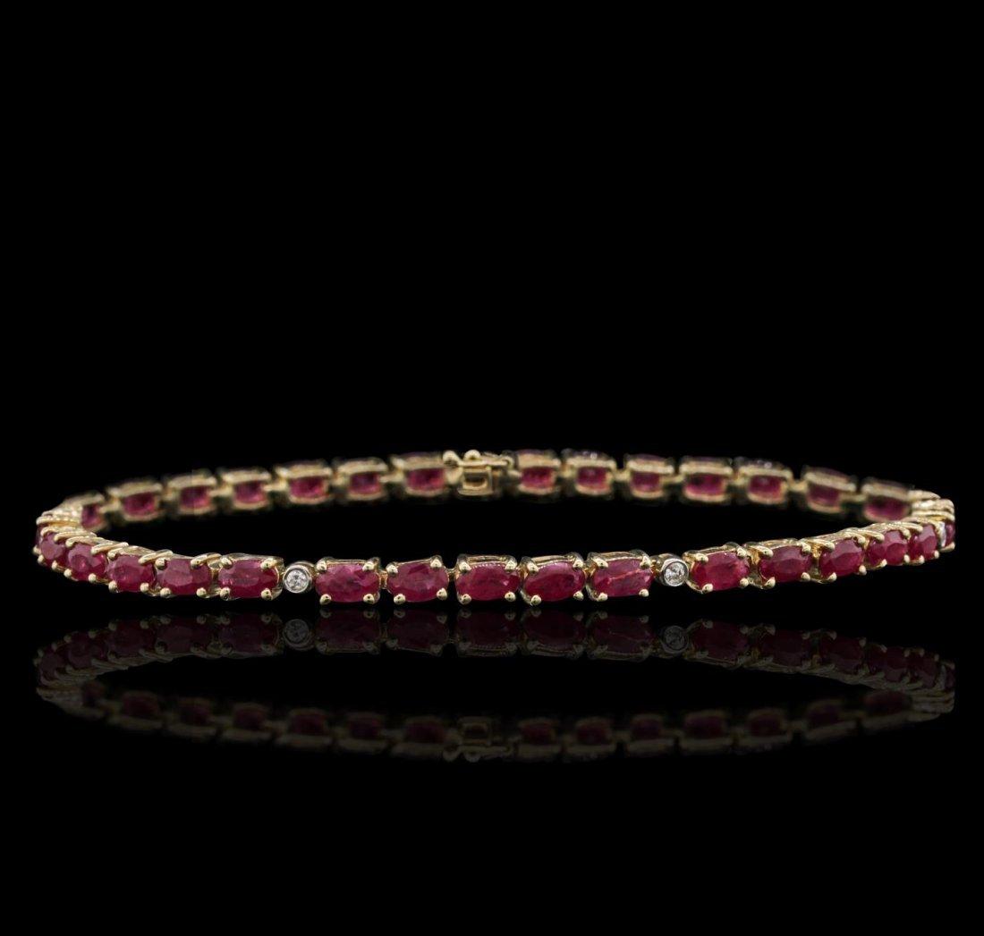 14KT Yellow Gold 7.70ctw Ruby and Diamond Bracelet
