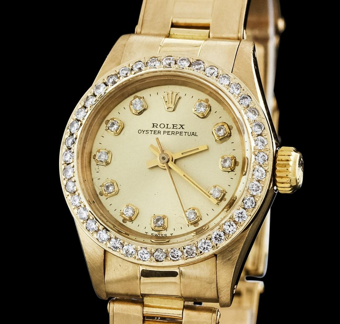 Ladies Rolex 18KT Yellow Gold Diamond Oyster Perpetual