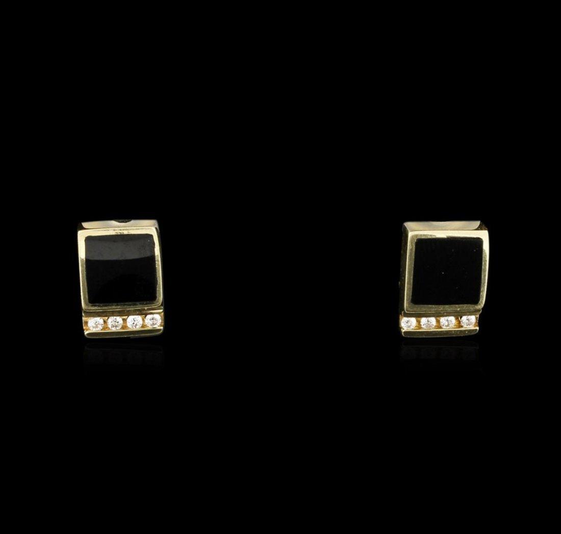 14KT Yellow Gold 1.90ctw Black Onyx and Diamond