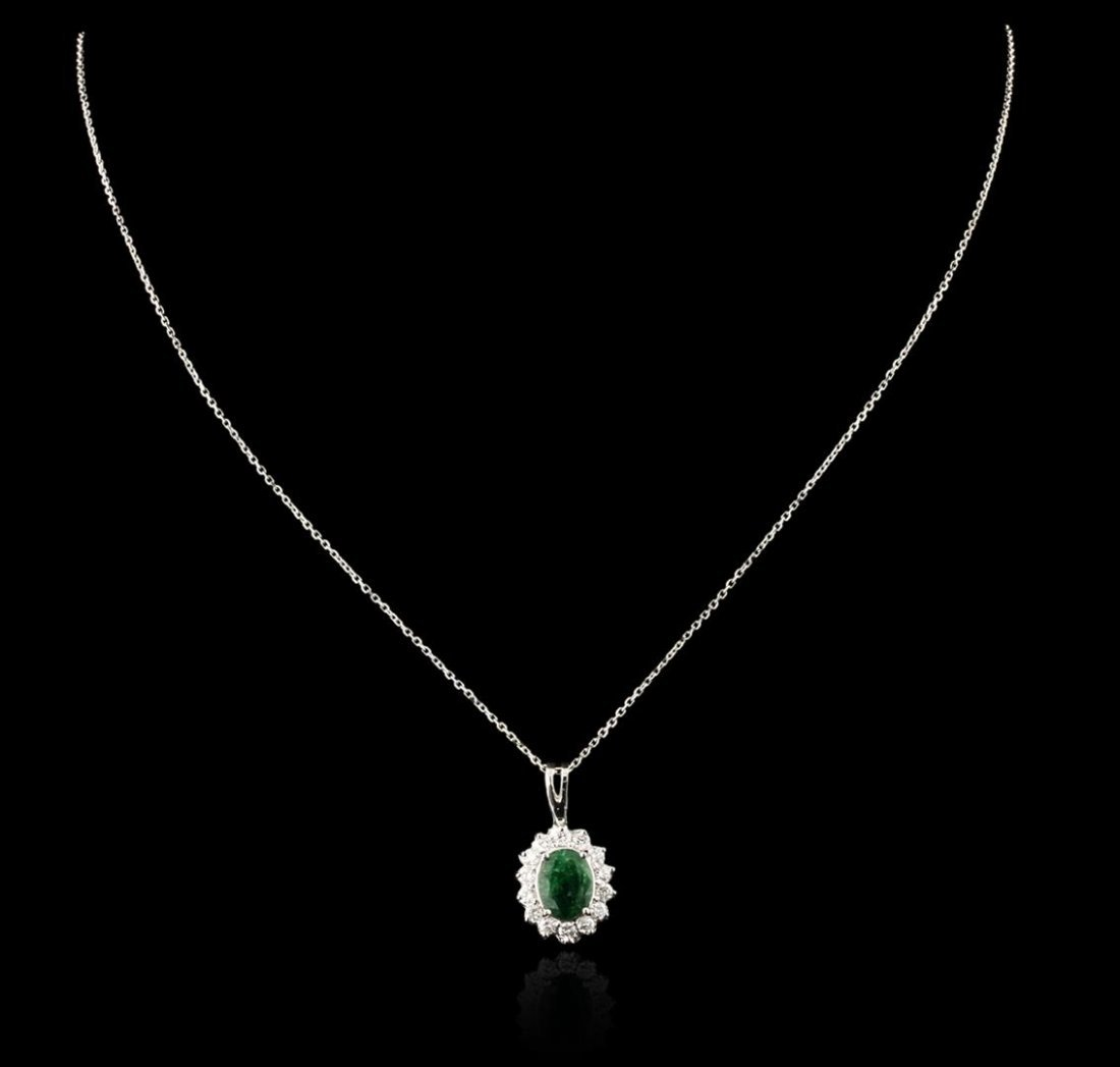 14KT White Gold 1.77ct Emerald and Diamond Pendant With
