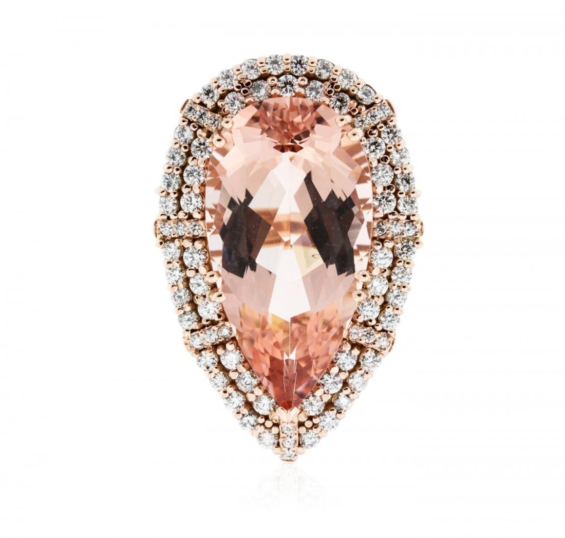 14KT Rose Gold GIA Certified 29.95ct Morganite and