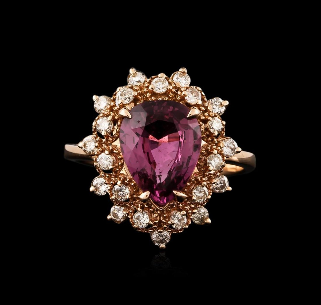 14KT Rose Gold 3.07ct Purple Sapphire and Diamond Ring