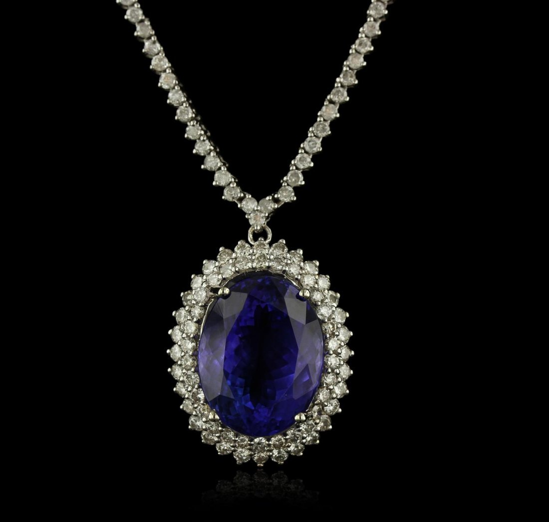 14KT White Gold 15.40ct GIA Certified Tanzanite and