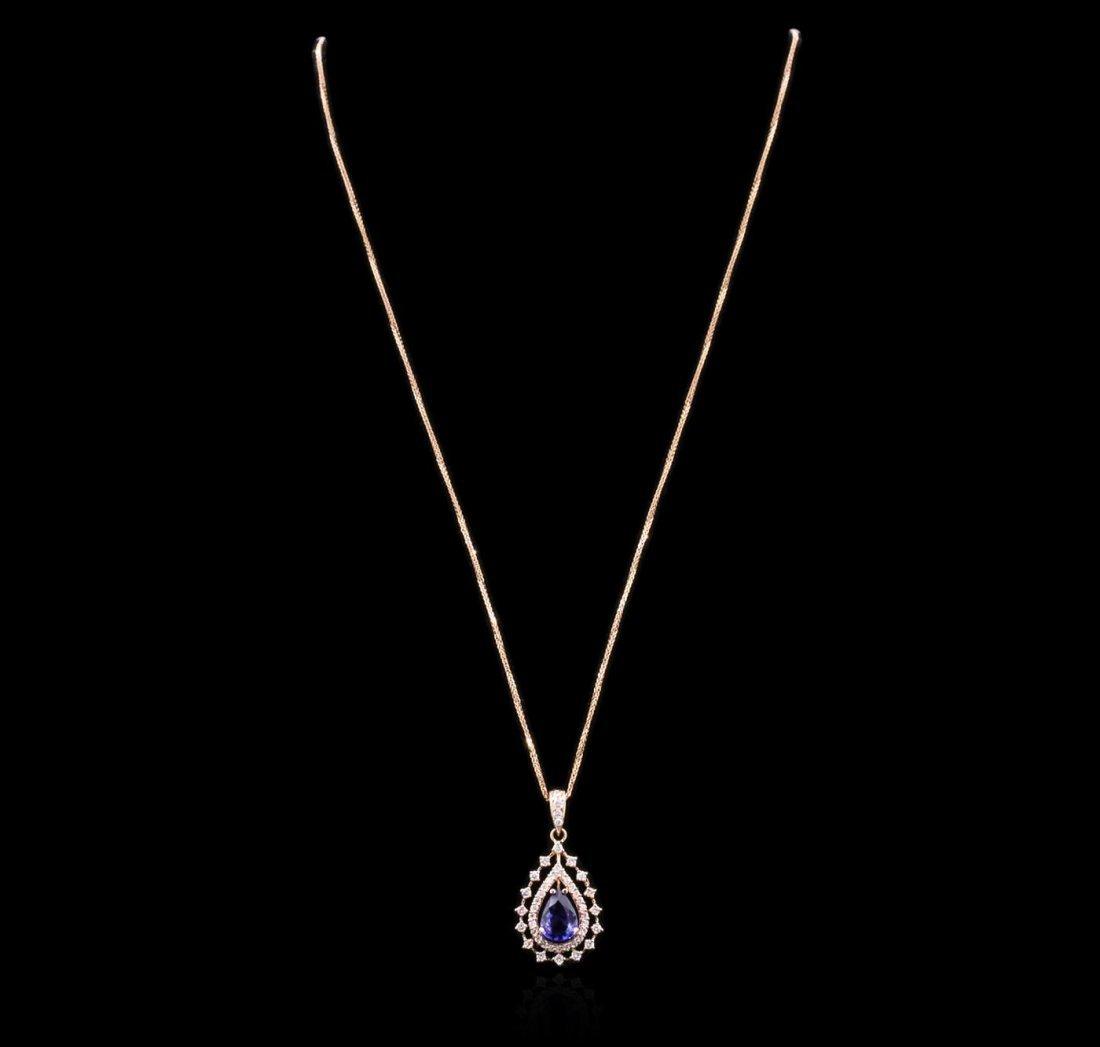 14KT Rose Gold 1.99ct Tanzanite and Diamond Pendant