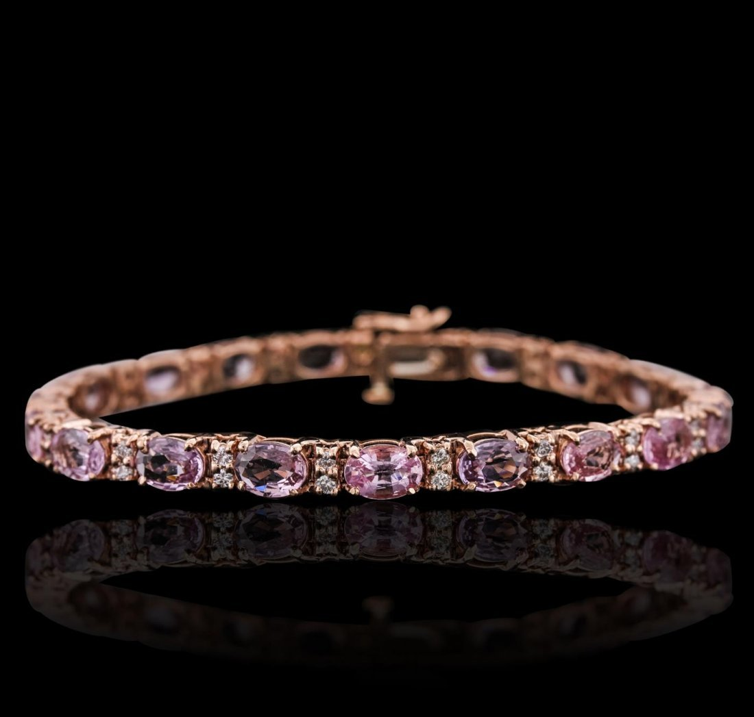 14KT Rose Gold 17.25ctw Pink Sapphire and Diamond