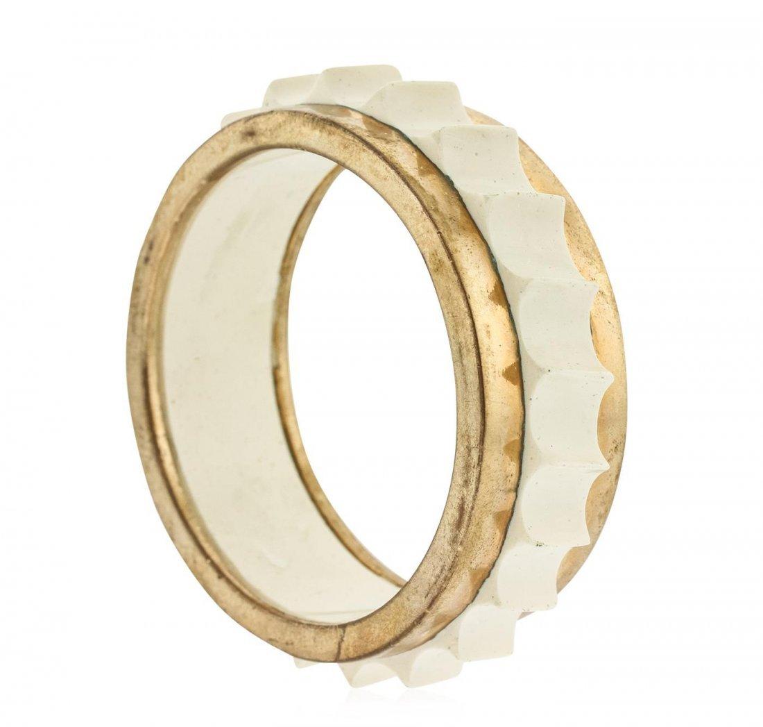 Marni Lily White Ridges Bangle Bracelet