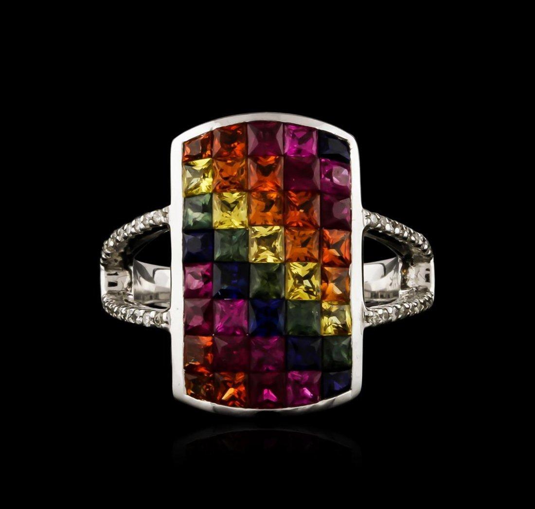 14KT White Gold 3.91ctw Multicolor Sapphire and Diamond