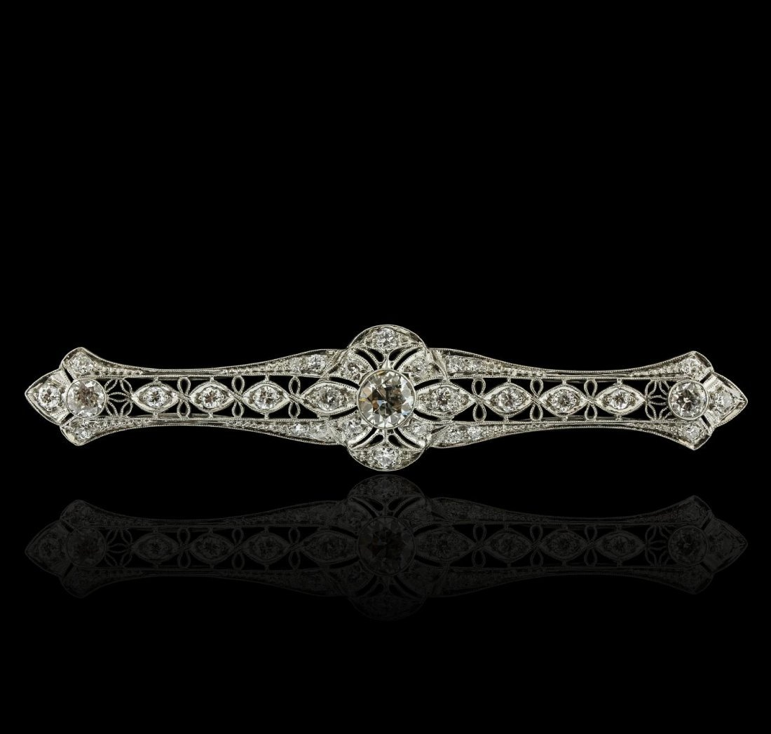 Platinum 1.92ctw Diamond Brooch