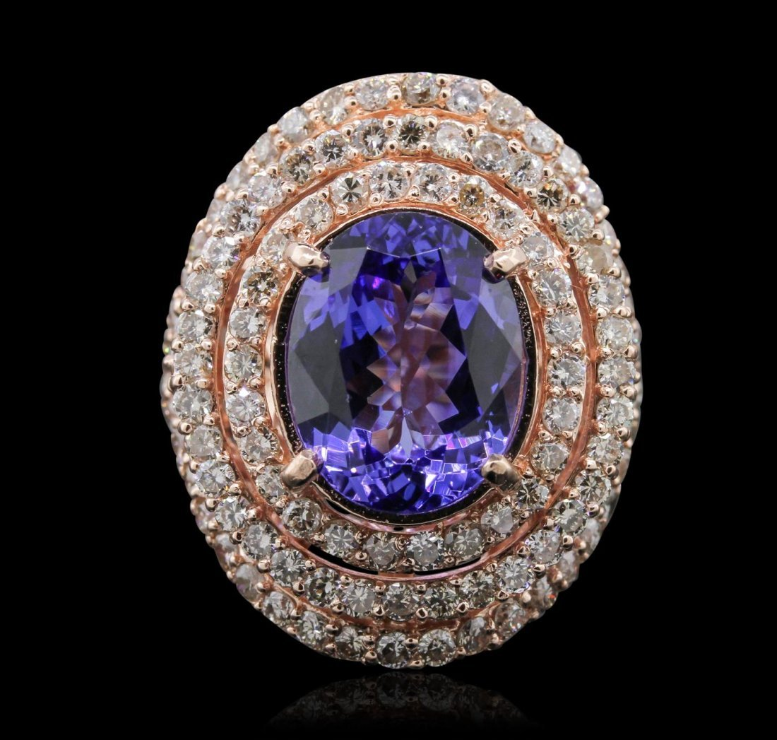 14KT Rose Gold 6.83ct Tanzanite and Diamond Ring
