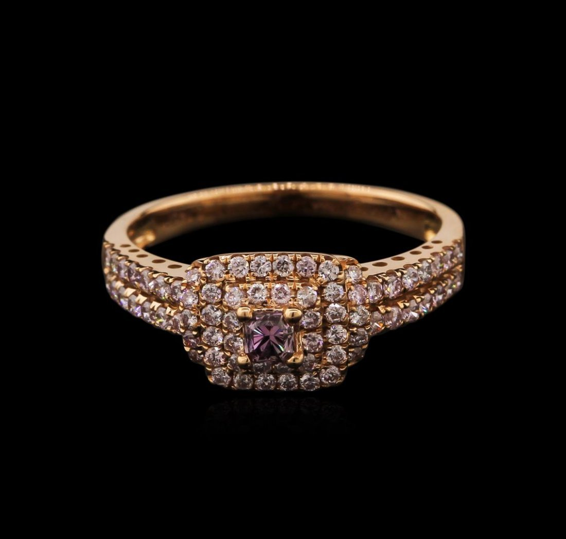 18KT Rose Gold 0.67ctw Fancy Pink Diamond Ring