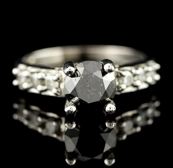 14KT White Gold 1.59ct Black Diamond Ring