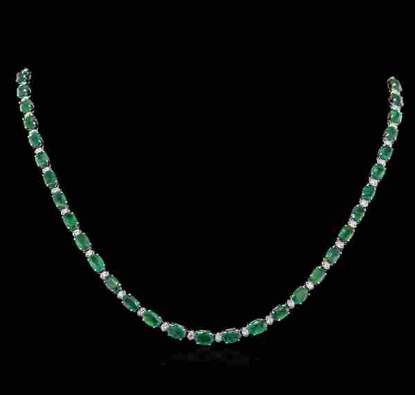 KT White Gold 23.00ctw Emerald and Diamond Necklace