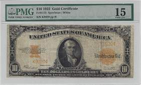 1922 $10 Large Gold Certificate PMG Graded Choice Fine