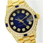 Rolex 18KT Gold Diamond and Sapphire President Ladies