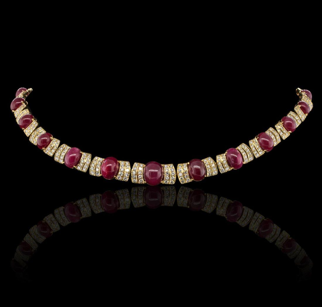 18KT Yellow Gold 47.33ctw Ruby and Diamond Suite