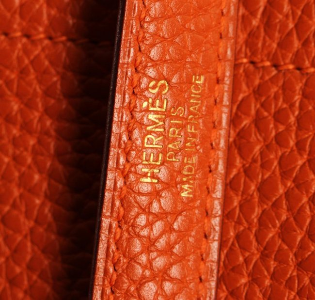 Authentic Hermes Orange Togo Leather Bolide Bag : Lot 287