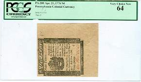 Pennsylvania Colonial Currency