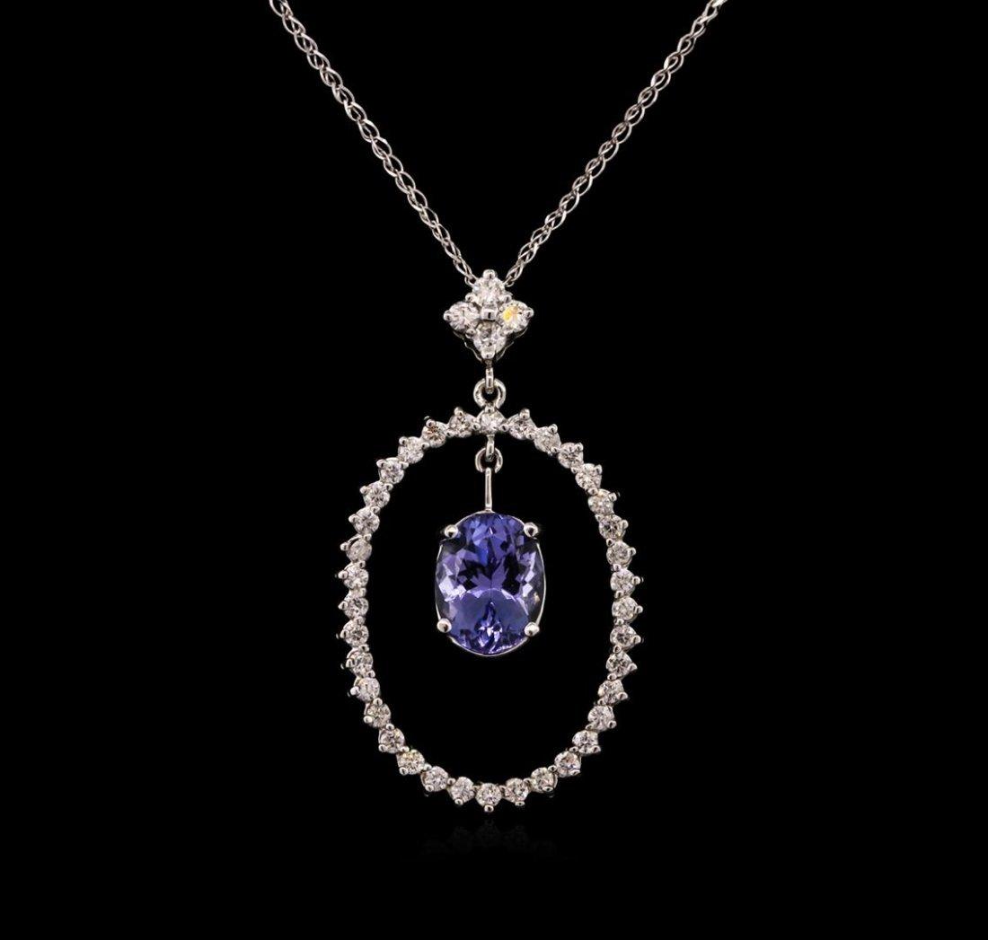 2.69ct Tanzanite and Diamond Pendant With Chain - 14KT
