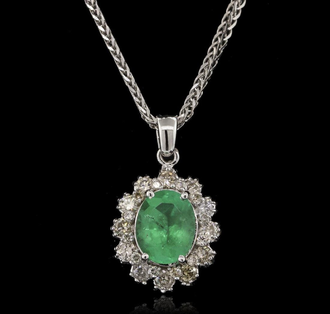2.52ct Emerald and Diamond Pendant With Chain - 14KT