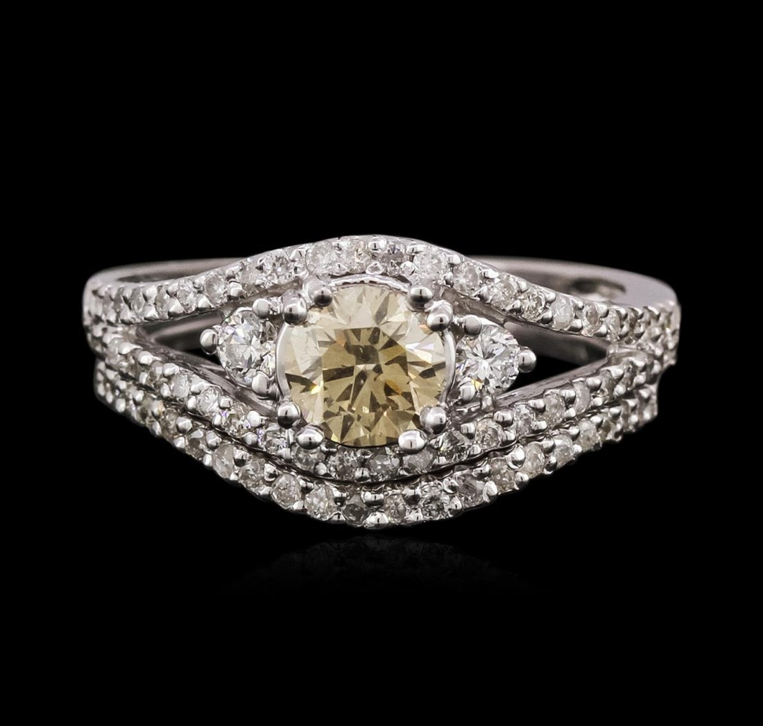 14KT White Gold 1.32ctw Diamond Ring and Guard