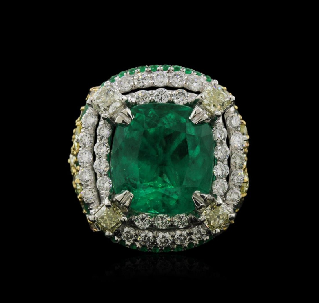 Two-Tone GIA Certified 10.34ctw Emerald and Diamond