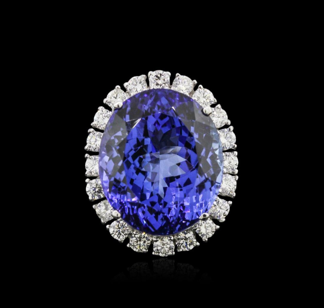 14KT White Gold GIA Certified 28.36ct Tanzanite and