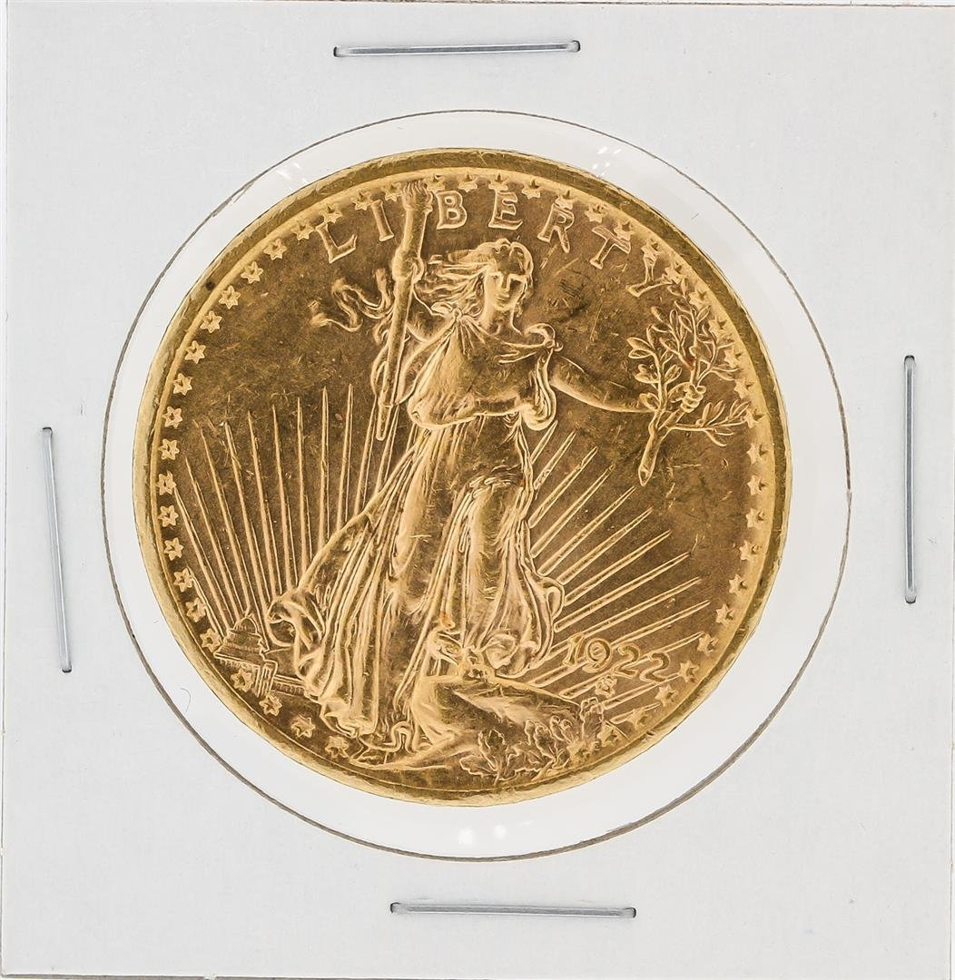 1922 $20 AU St. Gaudens Double Eagle Gold Coin