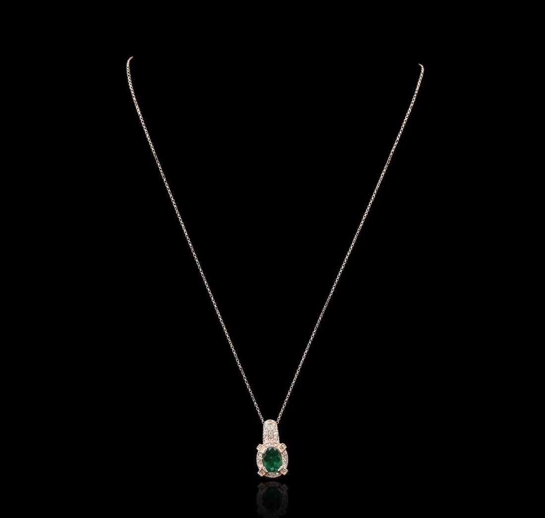 14KT Rose Gold 1.83ct Emerald and Diamond Pendant With