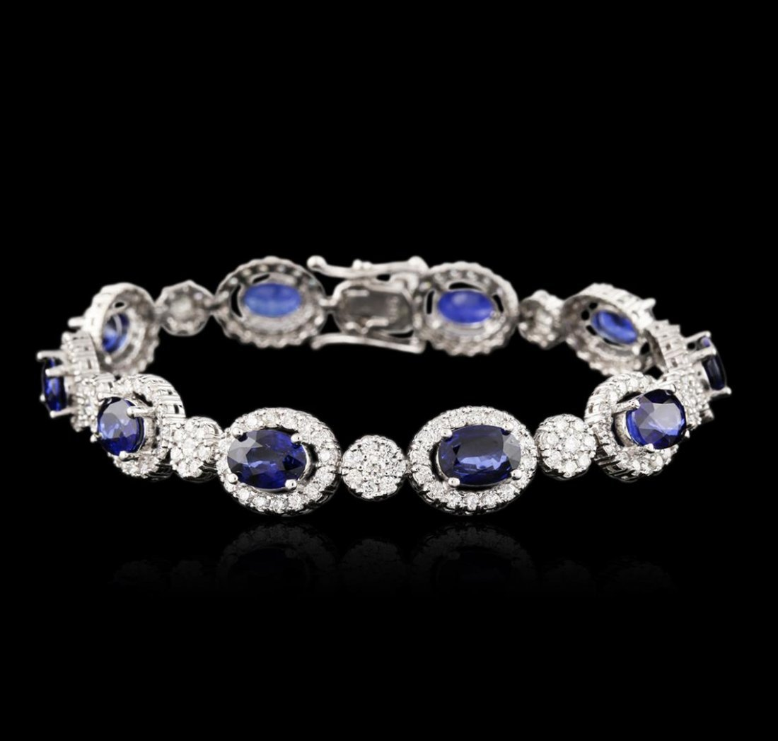 14KT White Gold 7.00ctw Sapphire and Diamond Bracelet