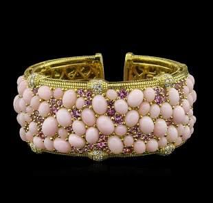 48.60ctw Pink Opal, Pink Sapphire and Diamond Bracelet