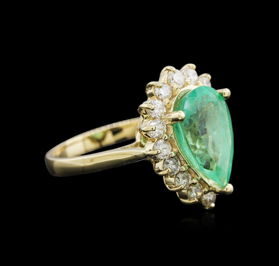 3.61ct Emerald and Diamond Ring - 14KT Yellow Gold
