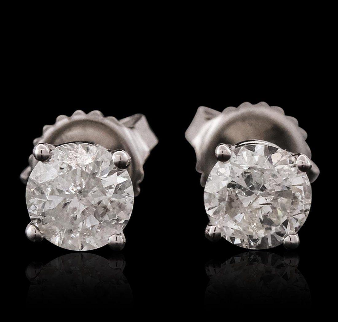 14KT White Gold 1.32ctw Diamond Stud Earrings